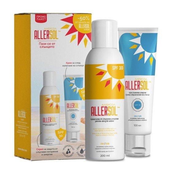 ALLERSOL / АЛЕРСОЛ промокомплект слънцезащитен спрей SPF30 + крем за след слънце