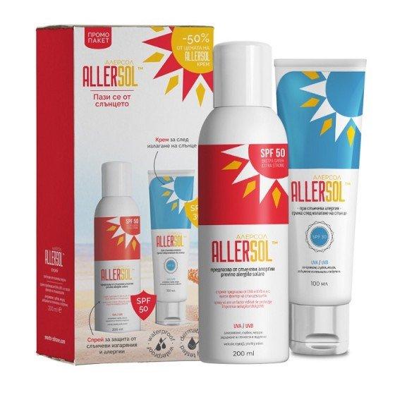 ALLERSOL / АЛЕРСОЛ промокомплект слънцезащитен спрей SPF50 + крем за след слънце