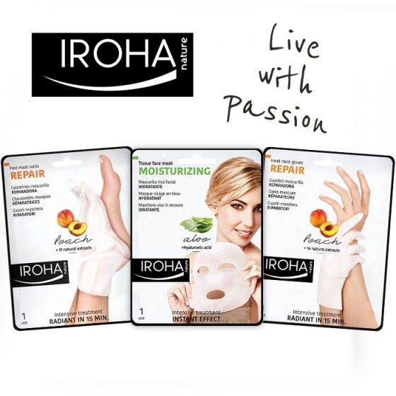 IROHA Комплект Tutti Frutti с ръкавици и чорапи праскова + маска за лице + подарък несесер