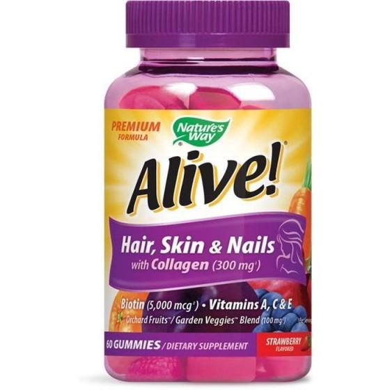 Alive/Алайв мултивитамини премиум /коса, кожа и нокти/ 60 желирани таблетки