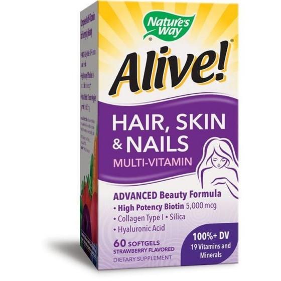 Alive/Алайв мултивитамини за коса, кожа и нокти 60 софтгел капсули