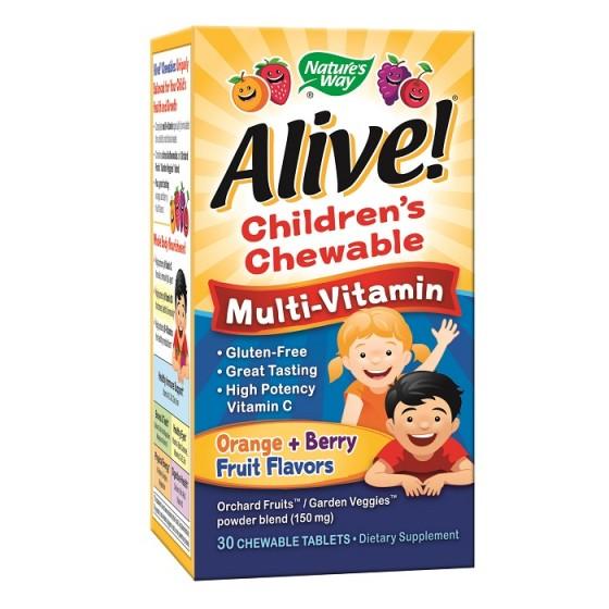 Alive/Алайв Мултивитамини за деца 30 дъвчащи таблетки