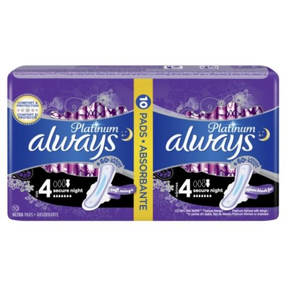 ALWAYS Platinum Secure Night 10 нощни дамски превръзки