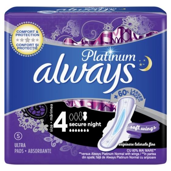 ALWAYS Platinum Secure Night 5 нощни дамски превръзки