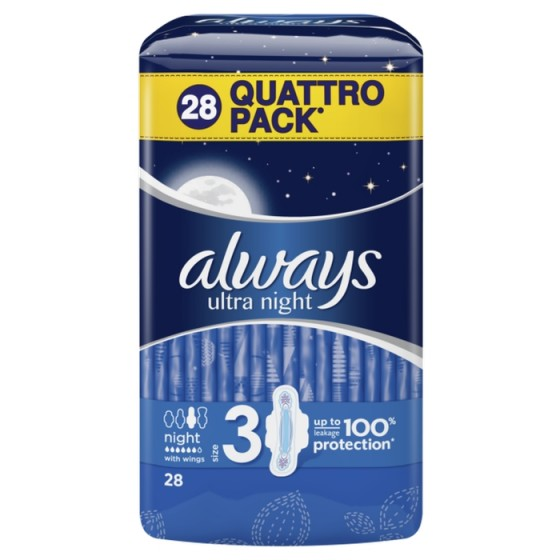ALWAYS Ultra Night Quattro 28 дамски превръзки