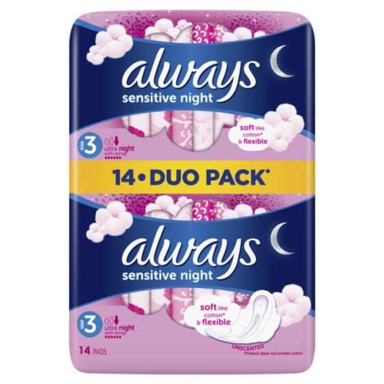 ALWAYS Ultra Night Sensitive Duo 14 нощни дамски превръзки