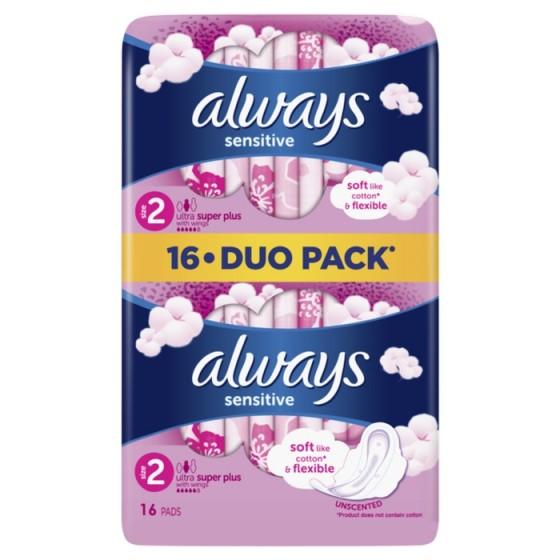 ALWAYS Ultra Sensitive Super Plus Duo 16 дневни дамски превръзки