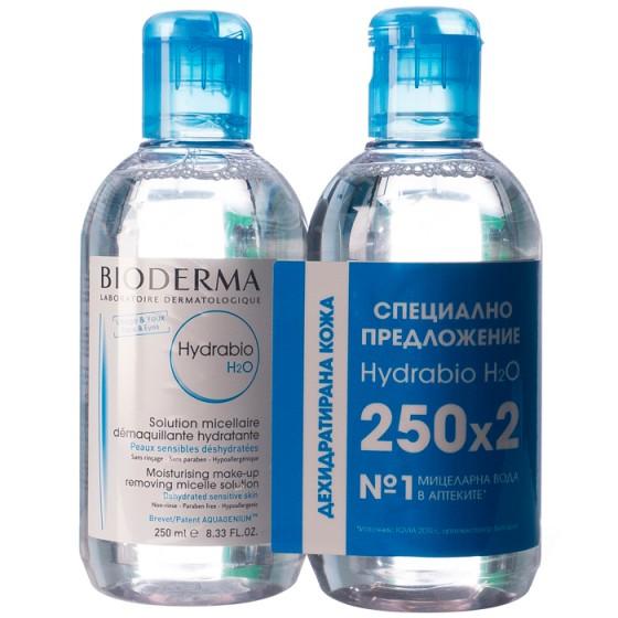 BIODERMA Hydrabio H2O мицеларна вода за суха кожа 2 х 250 мл