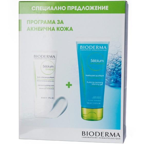 Bioderma Sebium Комплект Global крем 30 мл + гел мусан 100 мл