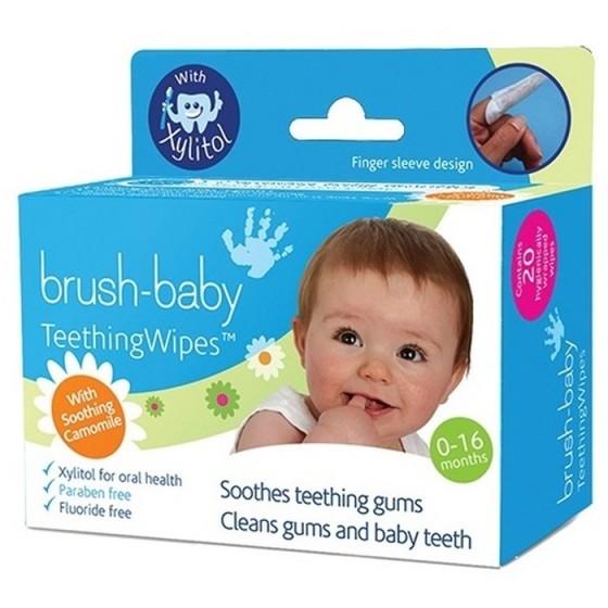 BRUSH-BABY почистващи кърпички за венци и никнещи зъбки с ксилитол
