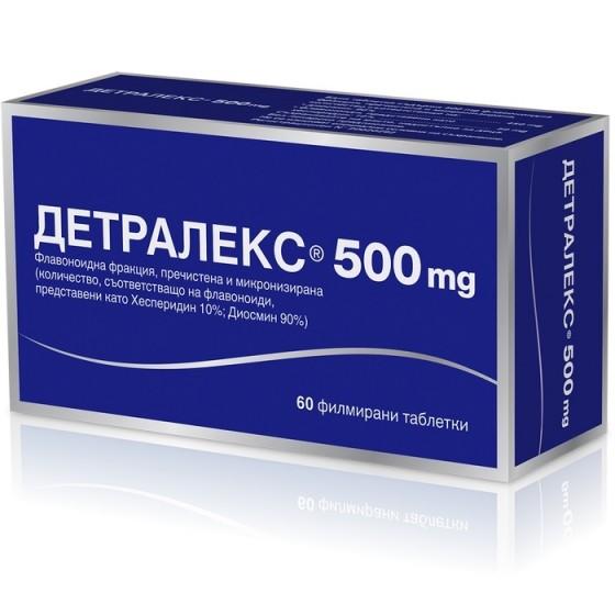 DETRALEX / ДЕТРАЛЕКС при разширени вени и хемороиди 500 мг х 60 таблетки