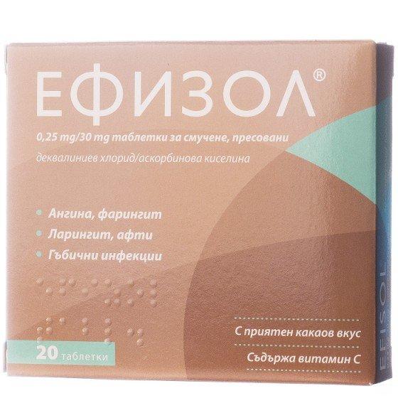 Efizol / Ефизол при възпалено гърло 20 таблетки