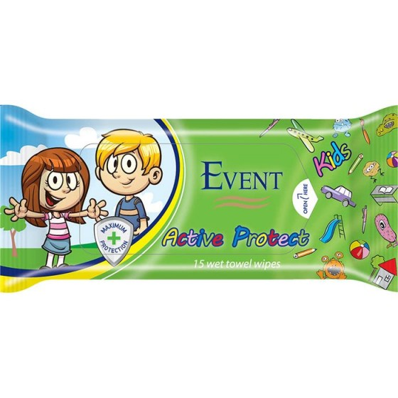 Event active protect kids кърпички 15 бр