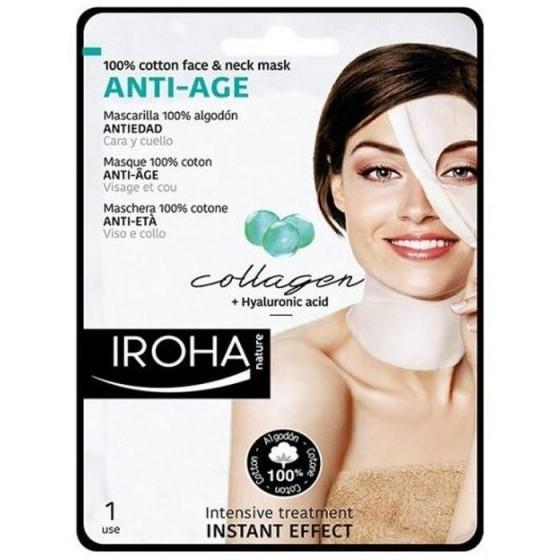 Iroha/Ироха Антиейджинг маска COTTON за лице и шия с колаген, 1 брой
