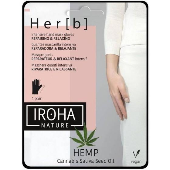 IROHA/Ироха HAND&NAIL GLOVE MASK CANNABIS SEED OIL маска за ръце с олио от семена на канабис