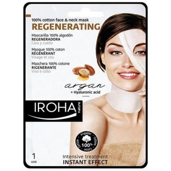 Iroha/Ироха Регенерираща маска COTTON за лице и шия с арган, Q10 и+D85 хиалурон, 1 брой