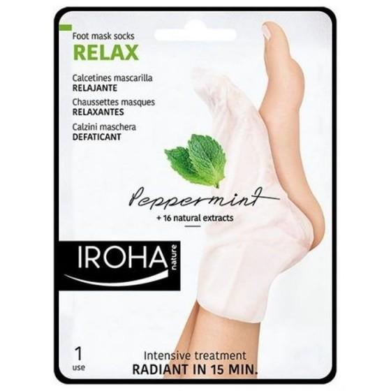 IROHA / Ироха RELAX ЧОРАПИ с МЕНТА за хидратиране и охлаждане на уморени стъпала, 1 чифт
