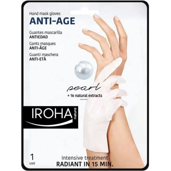 IROHA / Ироха ANTI-AGE РЪКАВИЦИ с ПЕРЛИ за стегната и млада кожа на ръцете, 1 чифт