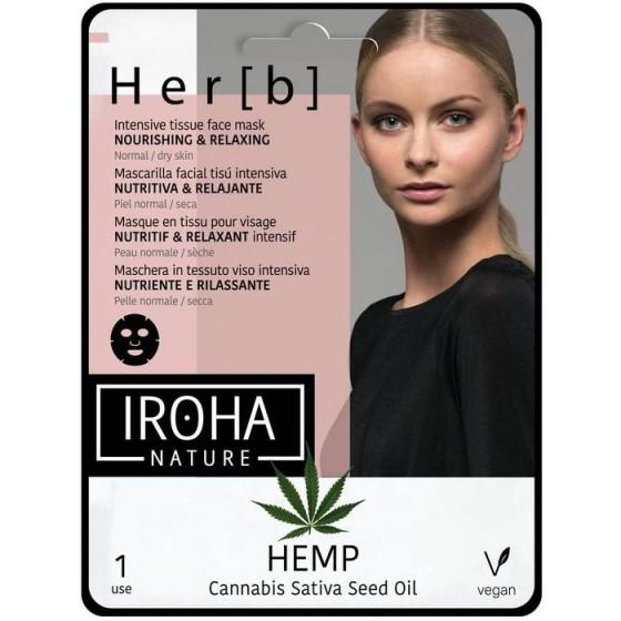 IROHA/Ироха TISSUE MASK CANNABIS SEED OIL тъкана маска с олио от семена на канабис