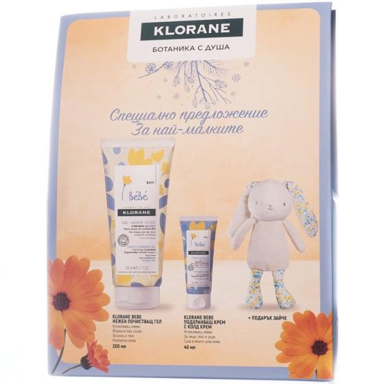 Klorane Bebe комплект - почистващ гел - подхранващ крем с колд крем - плюшено зайче