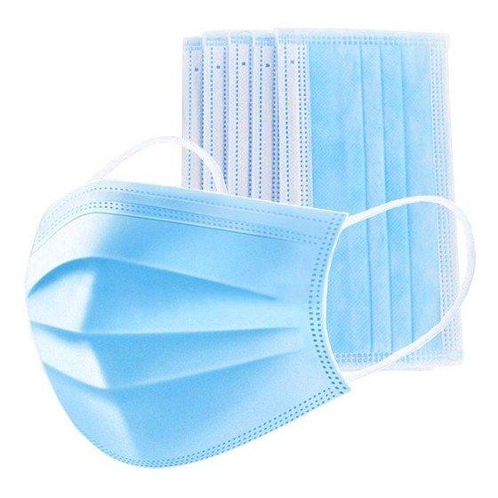 Медицинска трипластова предпазна маска с ластик - 10 бр.