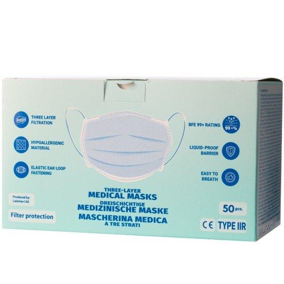 Медицинска трипластова предпазна маска с ластик кутия 50 бр.