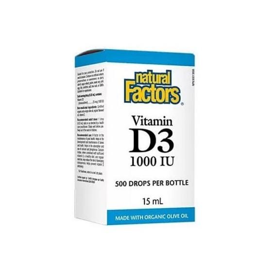 Natural Factors течен витамин D3 1000 IU 500 дози х 15 мл