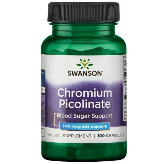 SWANSON Chromium Picolinate / СУОНСЪН хром пиколинат за контрол на кръвната захар 200 мкг 100 капсули