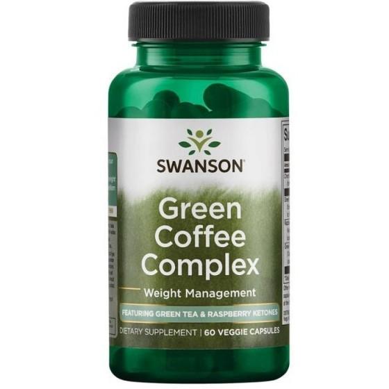 SWANSON Green Coffee Complex / СУОНСЪН комплекс зелено кафе, зелен чай, малинови кетони за контрол на теглото 60 капсули