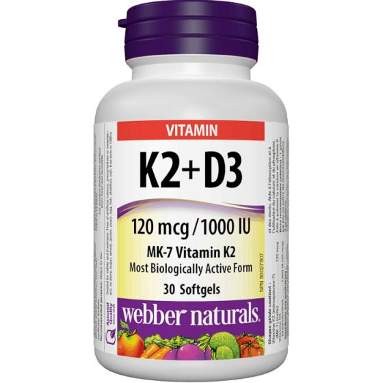 WEBBER NATURALS / УЕБЪР НАТУРАЛС Витамин K2 + D3 30 софтгел капсули