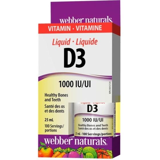 WEBBER NATURALS / УЕБЪР НАТУРАЛС витамин D3 течен 1000 IU 100 дози х 25 мл
