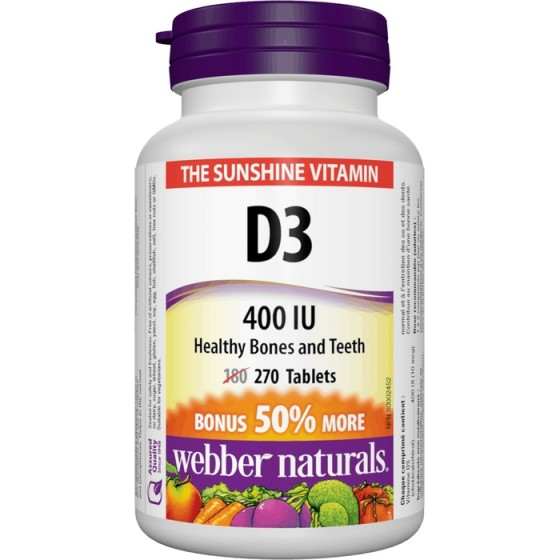 WEBBER NATURALS / УЕБЪР НАТУРАЛС витамин D3 400 IU 270 таблетки