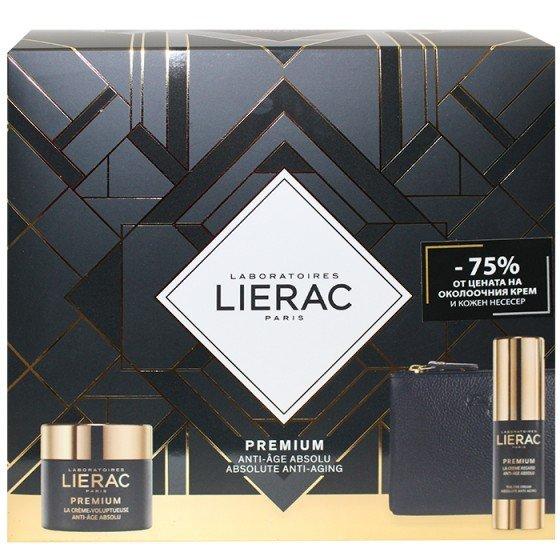 LIERAC Premium комплект крем 50 мл, околоочен крем 15 мл -75% и подарък несесер