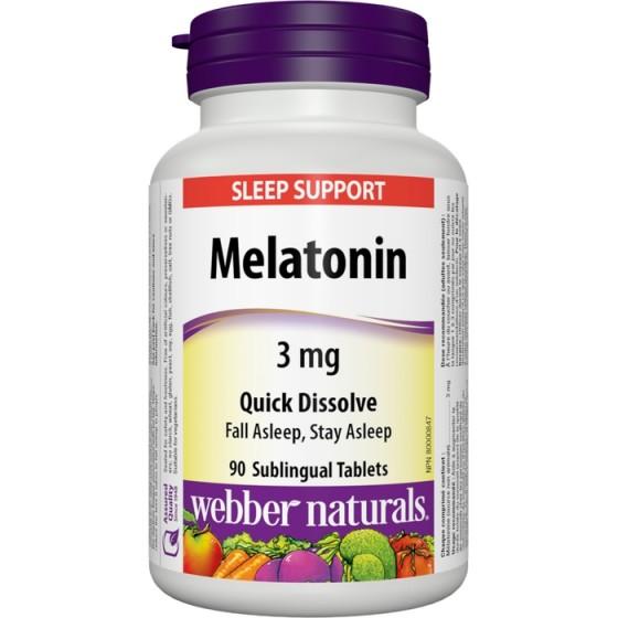 WEBBER NATURALS / УЕБЪР НАТУРАЛС Мелатонин 3 мг с бърза абсорбция за здравословен сън 90 таблетки