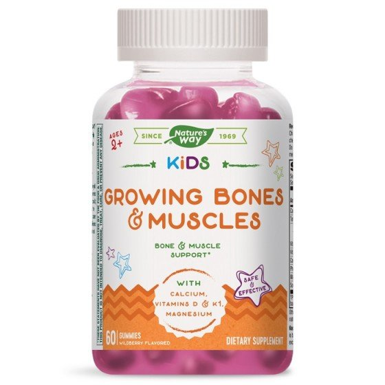 NATURE\'S WAY Kids Growing Bones and Muscles за нормалната функция на костите и мускулите 60 желирани таблетки