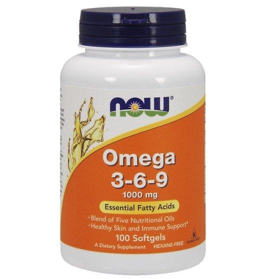 NOW Foods Omega 3-6-9 / НАУ Фудс Омега 3-6-9 есенциални мастни киселини 1000 мг 100 дражета