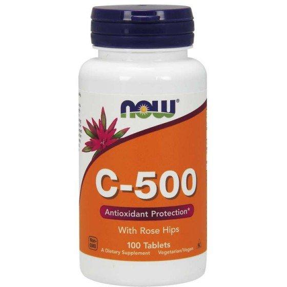 NOW Foods Vitamin C-500 / НАУ Фудс витамин С с екстракт от шипка 500 мг 100 таблетки