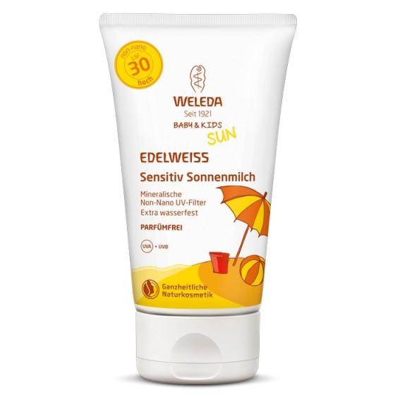 WELEDA / ВЕЛЕДА Слънцезащитен лосион с еделвайс за чувствителна кожа SPF30 подходящ за бебета и деца