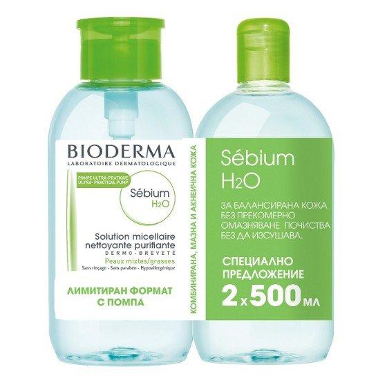 BIODERMA Sebium H2O мицеларна вода за мазна кожа 2 x 500 мл