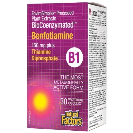 NATURAL FACTORS BioCoenzymated / НАТУРАЛ ФАКТОРС Бенфотиамин 150 мг + витамин В1 10 мг х 30 V капсули