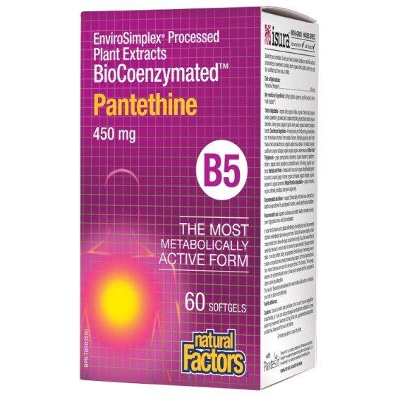 NATURAL FACTORS BioCoenzymated / НАТУРАЛ ФАКТОРС Пантетин (Витамин В5) 450 мг х 60 софтгел капсули