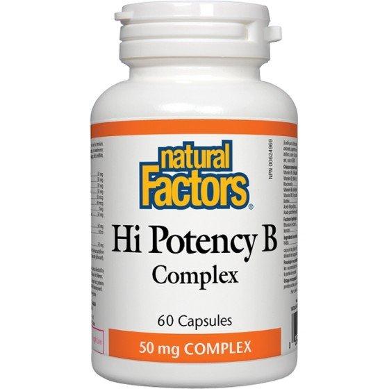 NATURAL FACTORS Hi Potency В Complex / НАТУРАЛ ФАКТОРС В комплекс 50 мг x 60 капсули
