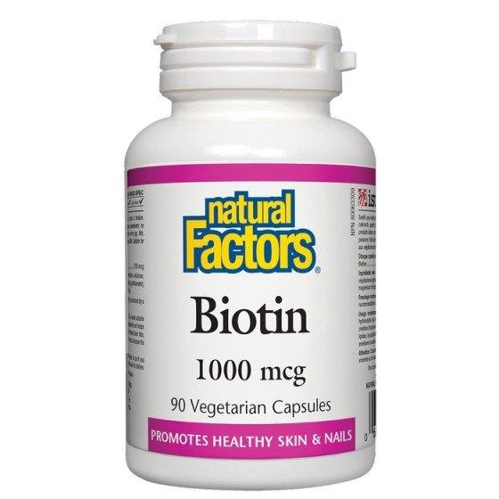NATURAL FACTORS / НАТУРАЛ ФАКТОРС Биотин 1000 мкг x 90 V капсули