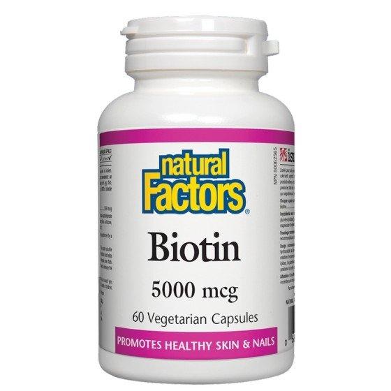 NATURAL FACTORS / НАТУРАЛ ФАКТОРС Биотин 5000 мкг x 60 V капсули