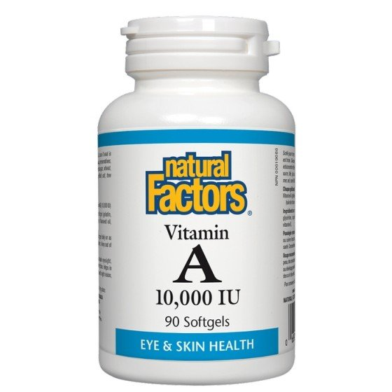 NATURAL FACTORS / НАТУРАЛ ФАКТОРС Витамин A 10000 IU х 90 софтгел капсули