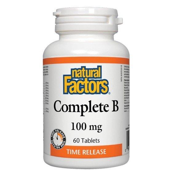 NATURAL FACTORS / НАТУРАЛ ФАКТОРС Витамин B Комплекс Complete B 100 мг х 60 таблетки с удължено освобождаване