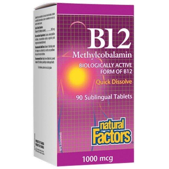NATURAL FACTORS / НАТУРАЛ ФАКТОРС Витамин B12 (метилкобаламин) 1000 мкг x 90 сублингвални таблетки