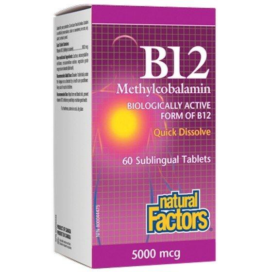 NATURAL FACTORS / НАТУРАЛ ФАКТОРС Витамин B12 (метилкобаламин) 5000 мкг x 60 сублингвални таблетки