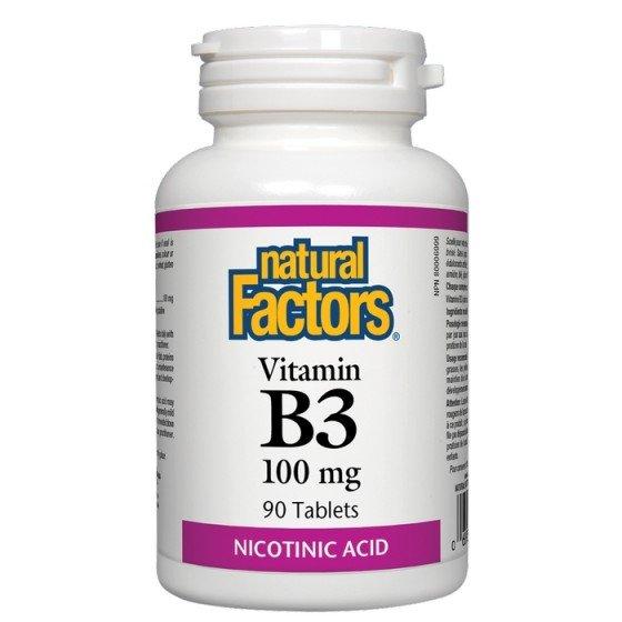 NATURAL FACTORS / НАТУРАЛ ФАКТОРС Витамин B3 100 мг x 90 таблетки