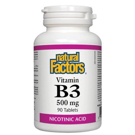 NATURAL FACTORS / НАТУРАЛ ФАКТОРС Витамин B3 500 мг х 90 таблетки